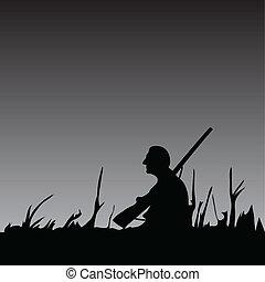 cazador, noche