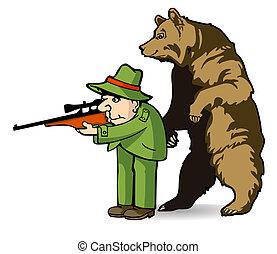 cazador, oso