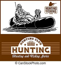 cazador, perro, barco, pato