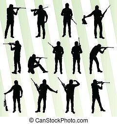 cazador, silueta, conjunto, vector, plano de fondo