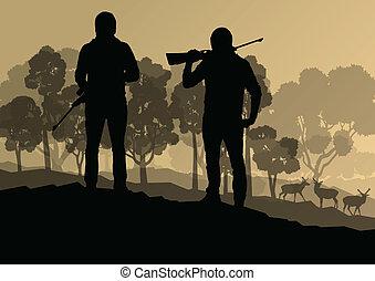 cazador, silueta, plano de fondo, paisaje, vector, concepto, con, bosque, y, venado, en, él, para, cartel