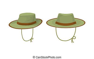 cazador, sombrero, dos