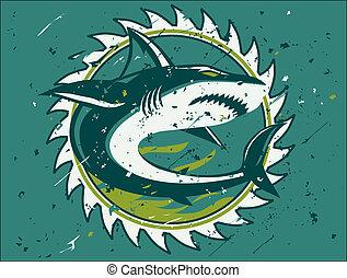 cazador, tiburón, emblema