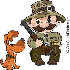 cazador, y, perro