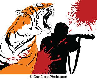 cazador, y, tigre