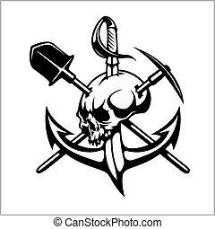 cazadores, emblema, heráldico, tesoro, -, señal, vector, ...