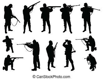 cazadores, siluetas