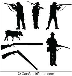 cazadores, y, arma de fuego