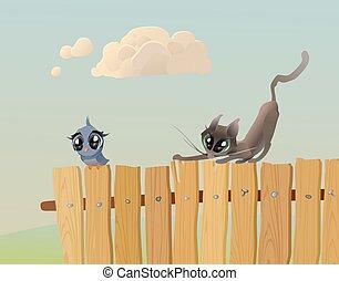 cazas, pájaro, gato