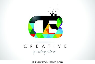 CB C B Letter Logo with Colorful Triangles Texture Design Vector.