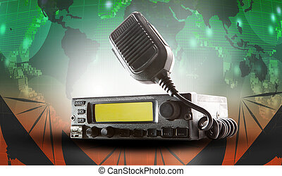 cb radio transceiver station and loud speaker holding on air use for ham connection and amateur radio gear theme