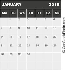 cb1 - Classic month planning calendar in English for January...