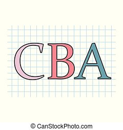 CBA (Cost benefit Analysis) wr0itten on checkered paper...