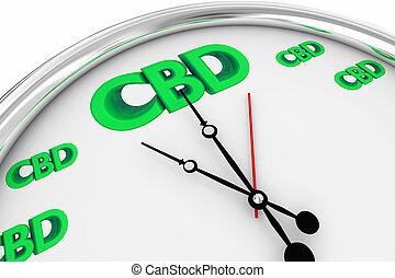 CBD Cannabidiol Marijuana Cannabis Clock Time Deadline 3d Illustration