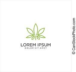 CBD Cannabis Marijuana Pot Hemp Logo Leaf with Line Art style Icon design