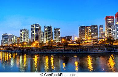 cbd, china, beijing, ciudad, skyline.