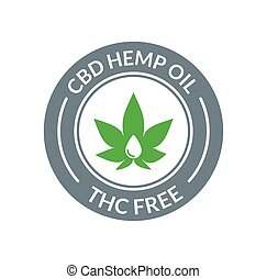 CBD Hemp Oil logo. THC Free medical hemp cannabis oil icon.