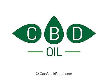 cbd, logo., icon., cannabidiol, プロダクト, 麻, オイル