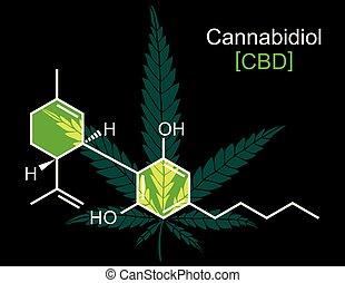 CBD Molecule on Black - Concept illustration for CBD, hemp ...