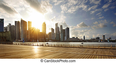 CBD of Singapore at sunset