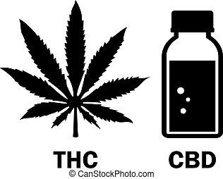 Cbd oil bottle and cannabis leaf icon