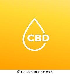 CBD oil drop vector icon
