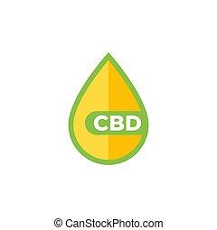 CBD oil drop vector icon on white