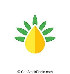 CBD oil drop vector logo