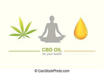 cbd oil for health concept with cannabis leaf yoga and oil drop
