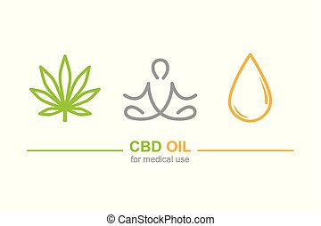 cbd oil for medical use concept with cannabis leaf yoga and oil drop