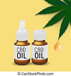 CBD oil products, cannabis oil for medical and cosmetic purposes. Vector illustration