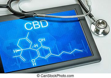 cbd, tablette, chimique, formule