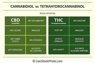 CBD vs THC Medical Applications horizontal infographic ...
