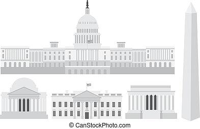 c.c. washington, edifícios capitólio, e, memorials