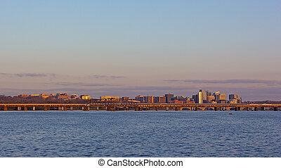 c.c. washington, panorama, através, rio potomac, em, sunrise.