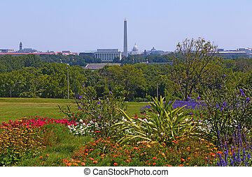 c.c. washington, panorama, em, primavera, com, florescer, flores, e, cidade capital, atrações, ao longo, potomac, river.
