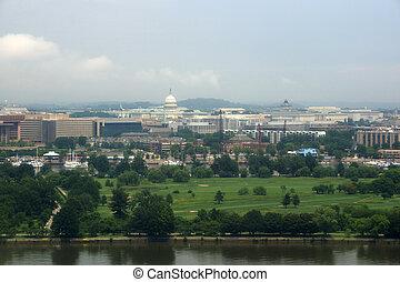 c.c. washington, skyline, com, parque, e, lankmark, edifícios, includin