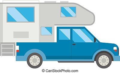 Ccaravan travel car vehicle trailer house summer vacation vector.