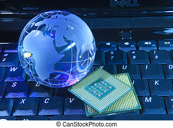 CCD sensor on a card of digital camera with fiber optical...