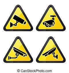 cctv, 三角形, 標籤, 集合, 符號, 安全照像机