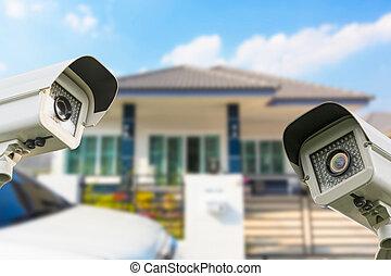 cctv, 家, カメラ, セキュリティー, 作動, ∥において∥, house.