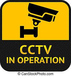 cctv, 符號, 標簽, 安全照像机