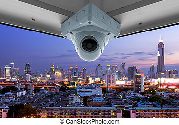 CCTV and night city scene