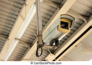 CCTV at airport interlink train station - Security Camera or...