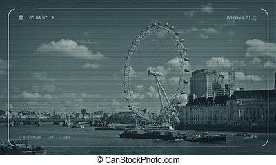 CCTV Boat Passes On River Thames