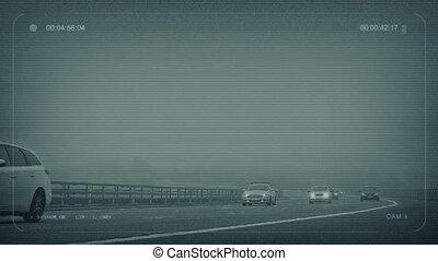 cctv, brumeux, autoroute, à, voitures, dépassement