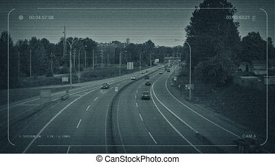 CCTV Busy Highway Outside City - CCTV view of cars going...