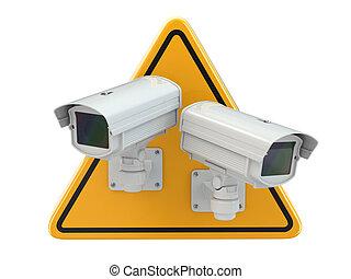cctv, câmera., surveillance video, sinal