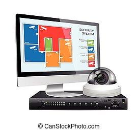 CCTV camera and DVR - digital video recorder - security...