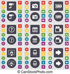 CCTV, Camera, Charging, Question mark, Calendar, Film camera, Monitor, Train, Arrow right icon symbol. A large set of flat, colored buttons for your design. Vector